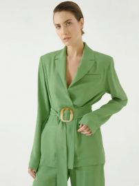 Belted Viscose Jacquard Blazer by Materiel at Luisaviaroma