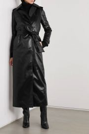 Belted faux leather trench coat at Net a Porter
