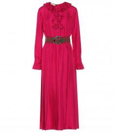 Belted silk twill midi dress at Mytheresa
