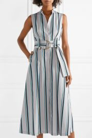 Belted striped cotton midi dress at Net A Porter