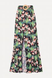 Belted wrap-effect floral-print crepe maxi skirt at Net A Porter