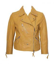 Benedetta Novi Yellow Cropped Leather Jacket at eBay