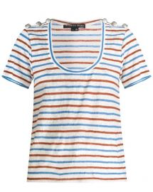 Benji Stripe Linen T-Shirt by Veronica Beard at Veronica Beard