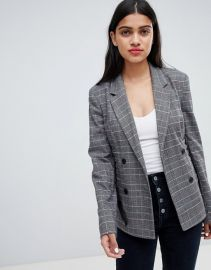 Bershka Check Lace Up Blazer at Asos