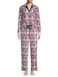 Betsey Johnson - 2-Piece Heart  amp  Plaid Pajama Set at Saks Off 5th