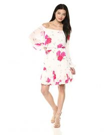 Betsey Johnson Off The Shoulder Floral Chiffon Dress at Amazon