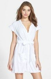 Betsey Johnson  Vintage  Ruffle Trim Terry Robe in White at Nordstrom