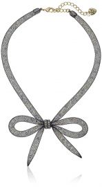 Betsey Johnson  quot Memoirs of Betsey quot  Mesh Bow Necklace  16 quot    3 quot  Extender at Amazon