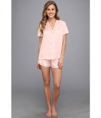 Betsey Johnson Betsey Johnson Satin Short Pajama Set Pink Lime at Zappos