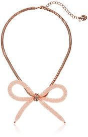 Betsey Johnson Confetti quot  Faceted Stone Filled Mesh Bow Necklace at Amazon