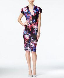 Betsey Johnson Floral-Print Midi Sheath Dress at Macys