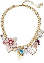 Betsey Johnson Leather Flower Multi-Charm Necklace  15 quot    4 quot  Extender at Amazon