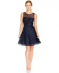 Betsey Johnson Sleeveless Illusion Polka-Dot Dress - Dresses - Women - Macys at Macys