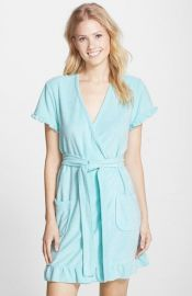Betsey Johnson Vintage Ruffle Trim Terry Robe in Aqua at Nordstrom