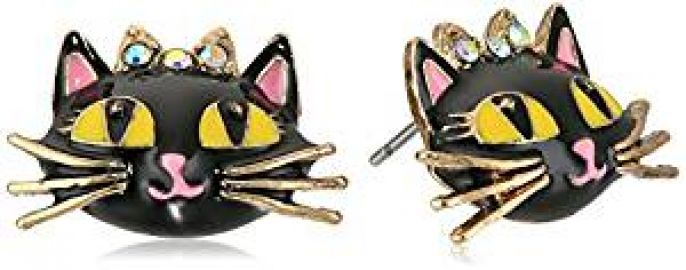 Betsey Johnson Women s Enchanted Forest Cat Stud Earrings Pink Stud Earrings at Amazon