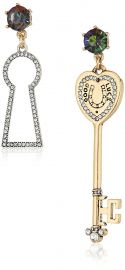 Betsey Johnson Womens Lock  amp  Key Non-Matching Drop Earrings at Amazon