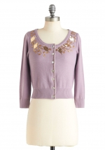 Betsey's purple sequinned cardigan at ModCloth at Modcloth