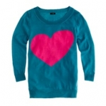 Betsey's sweater with a pink heart on it from J. Crew at J. Crew