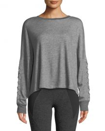Beyond Yoga Lasso Lace-Up Draped Pullover Sweatshirt at Neiman Marcus