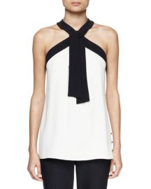 Bicolor Crepe Tie-Neck Halter Top at Bergdorf Goodman