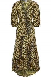 Bijou layered leopard-print cotton-poplin midi wrap dress at The Outnet