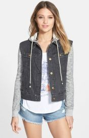 Billabong and39Northern Seaand39 Denim Jacket with French Terry Sleeves at Nordstrom