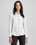 Bird print blouse like Robins at Bergdorf Goodman