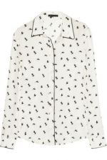 Bird print blouse on The Mindy Project at Net A Porter