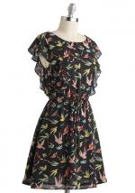 Bird print dress with ruffles at ModCloth at Modcloth