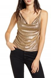 Bishop  amp  Young Audrina Pleated Metallic Satin Camisole   Nordstrom at Nordstrom