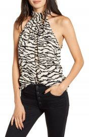 Bishop  amp  Young Untamed Animal Print Halter Neck Satin Top   Nordstrom at Nordstrom