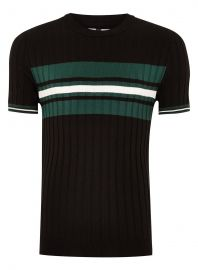 Black And Teal Stripe Ribbed Sweater at Topman