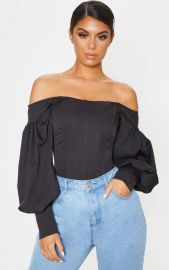 Black Bardot Balloon Sleeve Corset Top at Pretty Little Thing