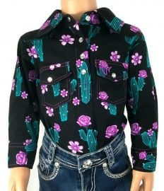 Black Cactus Button Up Shirt by Bunkhouse Western at Bunkhouse