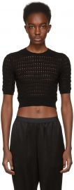 Black Float Stitch Crop Sweater by T by Alexander Wang at SSense