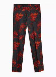 Black Floral Print Slim Pants at Topman