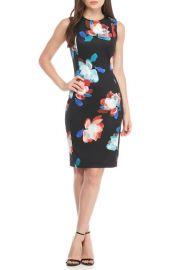 Black Floral Sheath Dress by Calvin Klein at Macys
