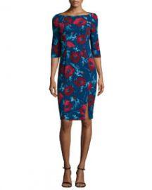 Black Halo 34-Sleeve Floral-Print Dress at Neiman Marcus