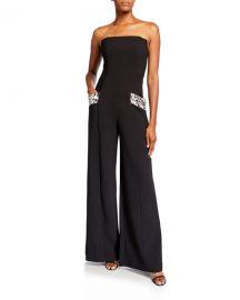 Black Halo Carmine Strapless Wide-Leg Jumpsuit w  Leopard Pockets at Neiman Marcus