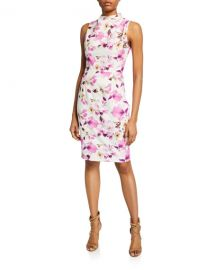 Black Halo Corrine Floral-Print Mock-Neck Sleeveless Sheath Dress at Neiman Marcus