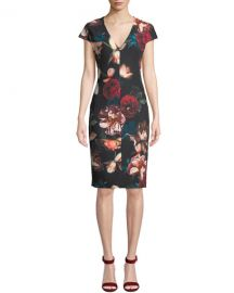 Black Halo Greyson Floral-Print Short-Sleeve Sheath Dress at Neiman Marcus