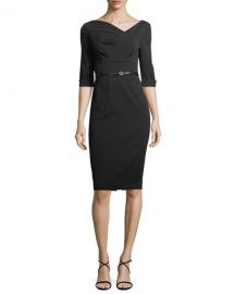 Black Halo Jackie 3 4-Sleeve Sheath Dress at Neiman Marcus