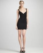 Black Herve Leger mini dress at Bergdorf Goodman