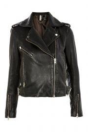 Black Leather Biker Jacket at Topshop