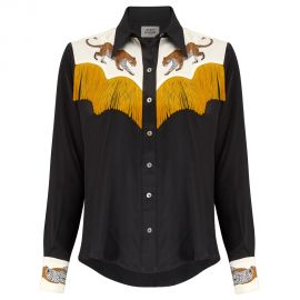 Black Leopard Cowboy Shirt with Fringing by Silken Favours at Silken Favours