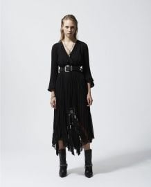 Black Long Flowing Dress with Lace Detail by The Kooples at The Kooples