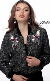 Black Multi Embellished Contemporary Bomber Jacket at Jovani