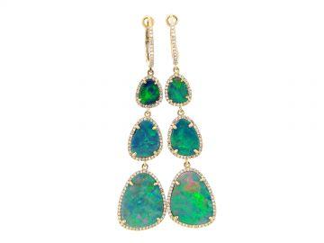 Black Opal  Diamond Halo Dangle Earring by Dilamani at Dilamani