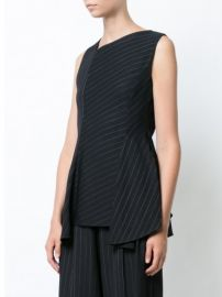 Black Pinstripe Asymmetric Top by Jason Wu at Farfetch