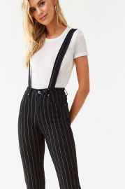 Black Pinstripe Overalls by Forever 21 at Forever 21